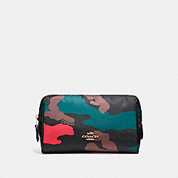 COACH F11916 - COSMETIC CASE 17 IN CAMO NYLON LIGHT GOLD/BLACK