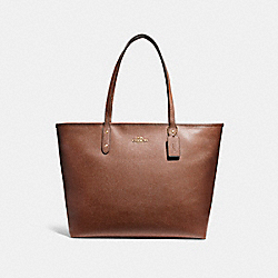 LARGE CITY ZIP TOTE - LIGHT GOLD/SADDLE 2 - COACH F11926