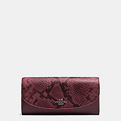 SLIM ENVELOPE IN POLISHED PEBBLE LEATHER WITH PYTHON EMBOSSED LEATHER - f11928 - BLACK ANTIQUE NICKEL/OXBLOOD MULTI
