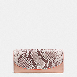COACH SLIM ENVELOPE IN POLISHED PEBBLE LEATHER WITH PYTHON EMBOSSED LEATHER - SILVER/NUDE PINK MULTI - F11928