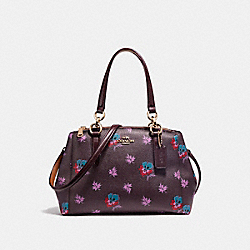 COACH MINI CHRISTIE CARRYALL IN WILDFLOWER PRINT COATED CANVAS - LIGHT GOLD/OXBLOOD 1 - F11932
