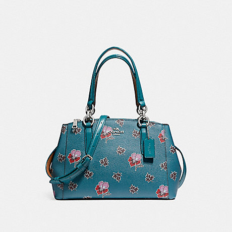 COACH f11932 MINI CHRISTIE CARRYALL IN WILDFLOWER PRINT COATED CANVAS SILVER/DARK TEAL