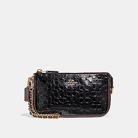 COACH LARGE WRISTLET 19 IN SIGNATURE DEBOSSED PATENT LEATHER - LIGHT GOLD/BLACK - f11940