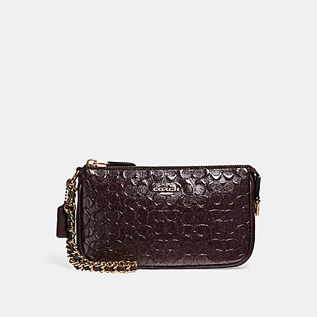 COACH f11940 LARGE WRISTLET 19 IN SIGNATURE DEBOSSED PATENT LEATHER LIGHT GOLD/OXBLOOD 1
