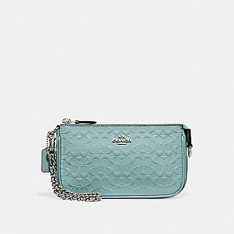 COACH LARGE WRISTLET 19 IN SIGNATURE DEBOSSED PATENT LEATHER - SILVER/AQUA - f11940