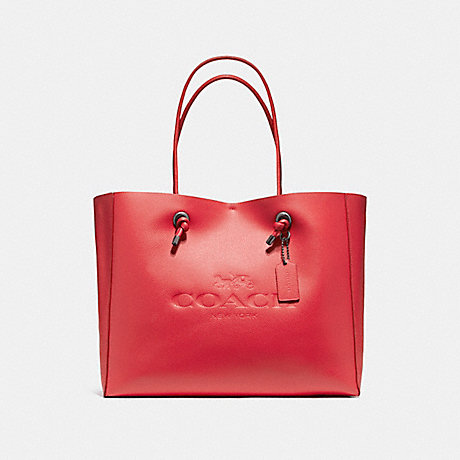 COACH f11941 SHOPPING TOTE 39 IN POLISHED PEBBLE LEATHER BLACK ANTIQUE NICKEL/TRUE RED