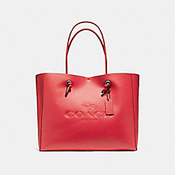 COACH SHOPPING TOTE 39 IN POLISHED PEBBLE LEATHER - BLACK ANTIQUE NICKEL/TRUE RED - F11941