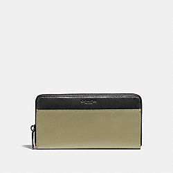 ACCORDION WALLET IN COLORBLOCK LEATHER - f11947 - MILITARY GREEN/BLACK