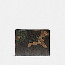 COACH SLIM BILLFOLD WALLET IN CAMO SIGNATURE COATED CANVAS - MAHOGANY/DARK GREEN CAMO - F11958