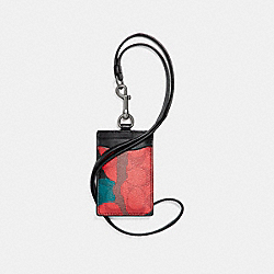 ID LANYARD IN SIGNATURE CAMO COATED CANVAS - f11984 - CHARCOAL/RED CAMO