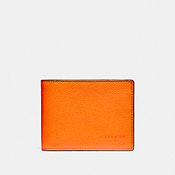 COACH SLIM BILLFOLD WALLET IN COLORBLOCK LEATHER - CORAL - F12020
