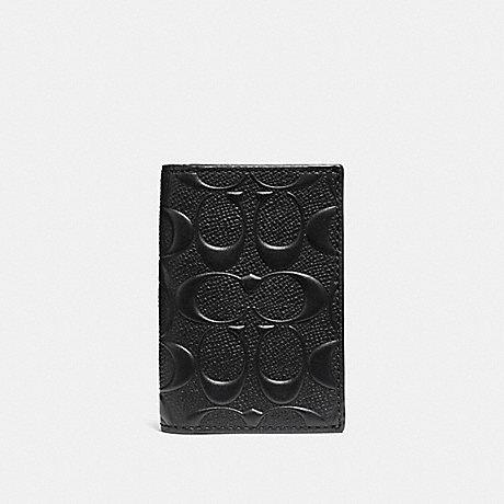 COACH BIFOLD CARD CASE IN SIGNATURE CROSSGRAIN LEATHER - BLACK - f12023