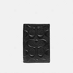 COACH BIFOLD CARD CASE IN SIGNATURE CROSSGRAIN LEATHER - BLACK - F12023