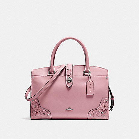COACH MERCER SATCHEL 30 WITH TEA ROSE AND TOOLING - LIGHT ANTIQUE NICKEL/DUSTY ROSE - f12031