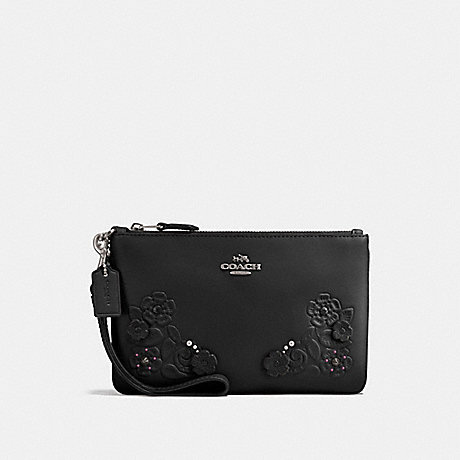 COACH SMALL WRISTLET WITH TEA ROSE AND TOOLING - BLACK/DARK GUNMETAL - f12056