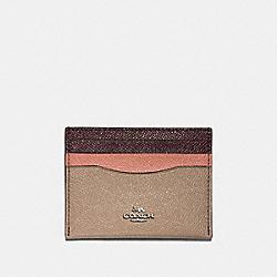 CARD CASE IN COLORBLOCK - SV/STONE/MELON MULTI - COACH F12070