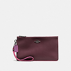 COACH CROSBY CLUTCH IN NATURAL REFINED LEATHER WITH PYTHON EMBOSSED LEATHER TRIM - BLACK ANTIQUE NICKEL/OXBLOOD MULTI - F12074
