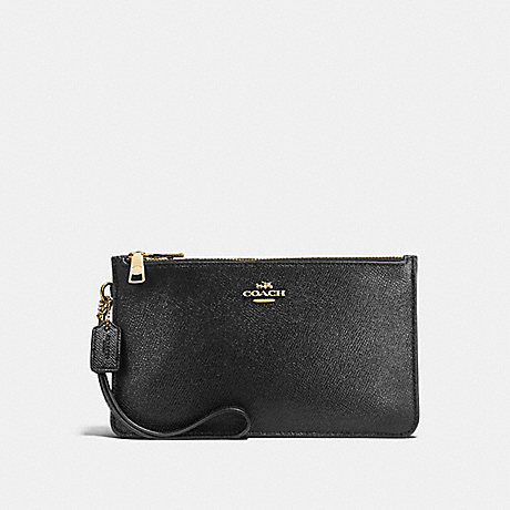 COACH CROSBY CLUTCH IN CROSSGRAIN LEATHER - IMITATION GOLD/BLACK - f12081