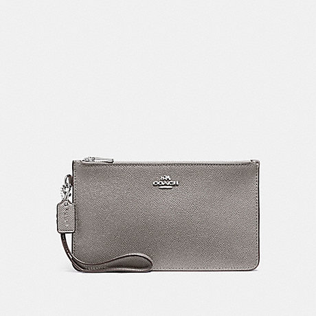 COACH CROSBY CLUTCH IN CROSSGRAIN LEATHER - SILVER/HEATHER GREY - f12081