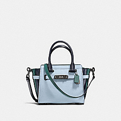 COACH SWAGGER 21 IN COLORBLOCK - PALE BLUE/NAVY/DARK TURQUOISE/DARK GUNMETAL - COACH F12121