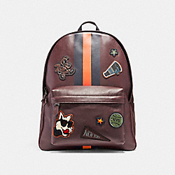 CHARLES BACKPACK IN SMOOTH CALF LEATHER WITH VARSITY PATCHES - F12125 - BLACK ANTIQUE NICKEL/OXBLOOD/MIDNIGHT NAVY/CORAL