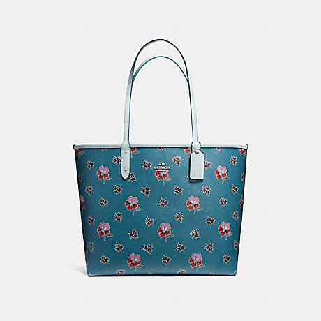 COACH f12176 REVERSIBLE CITY TOTE IN WILDFLOWER PRINT COATED CANVAS SILVER/DARK TEAL MULTI