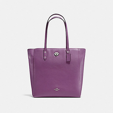 COACH f12184 TOWN TOTE IN PEBBLE LEATHER SILVER/MAUVE