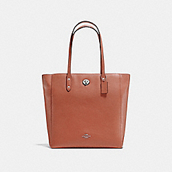 TOWN TOTE - ORANGE RED/SILVER - COACH F12184
