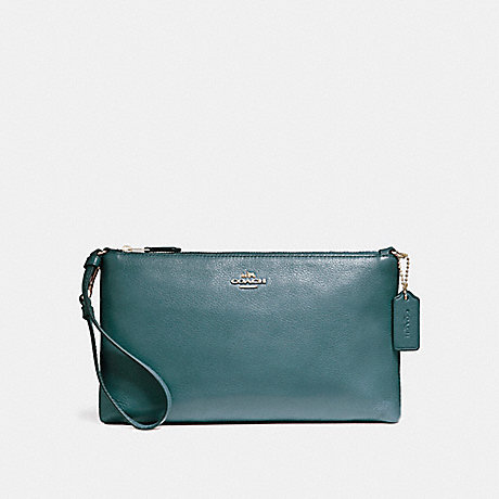 COACH LARGE WRISTLET 25 IN NATURAL REFINED PEBBLE LEATHER - LIGHT GOLD/DARK TEAL - f12185