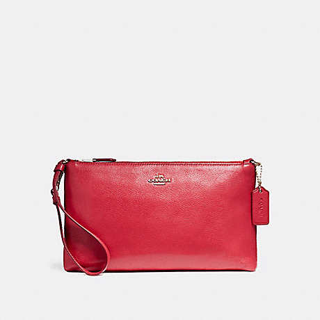 COACH LARGE WRISTLET 25 IN NATURAL REFINED PEBBLE LEATHER - LIGHT GOLD/TRUE RED - f12185
