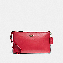 COACH F12185 - LARGE WRISTLET 25 IN NATURAL REFINED PEBBLE LEATHER LIGHT GOLD/TRUE RED