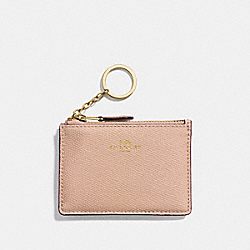 COACH MINI SKINNY ID CASE IN CROSSGRAIN LEATHER - IMITATION GOLD/NUDE PINK - F12186