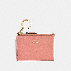 MINI SKINNY ID CASE - LIGHT CORAL/GOLD - COACH F12186