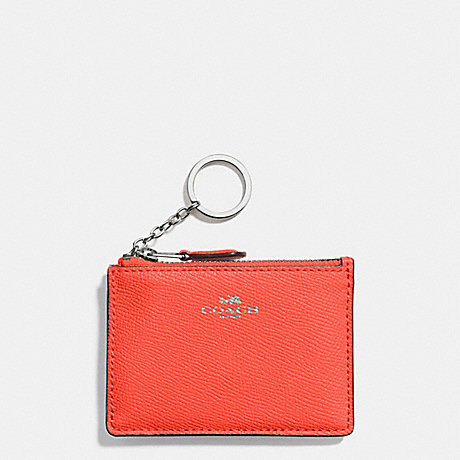 COACH MINI SKINNY ID CASE IN CROSSGRAIN LEATHER - SILVER/BRIGHT ORANGE - f12186