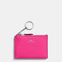 COACH MINI SKINNY ID CASE IN CROSSGRAIN LEATHER - SILVER/BRIGHT FUCHSIA - F12186