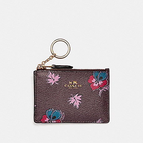 COACH MINI SKINNY ID CASE IN WILDFLOWER PRINT COATED CANVAS - LIGHT GOLD/OXBLOOD 1 - f12555