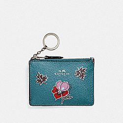 MINI SKINNY ID CASE IN WILDFLOWER PRINT COATED CANVAS - f12555 - SILVER/DARK TEAL