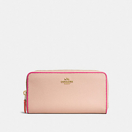 COACH ACCORDION ZIP WALLET IN POLISHED PEBBLE LEATHER WITH MULTI EDGESTAIN - IMITATION GOLD/NUDE PINK MULTI - f12585