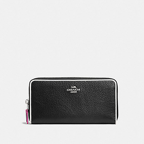 COACH ACCORDION ZIP WALLET IN POLISHED PEBBLE LEATHER WITH MULTI EDGESTAIN - SILVER/BLACK MULTI - f12585