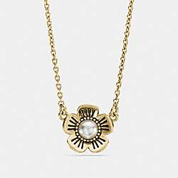 TEA ROSE PEARL NECKLACE - GOLD - COACH F12593