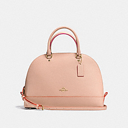 SIERRA SATCHEL IN CROSSGRAIN LEATHER WITH MULTI EDGEPAINT - f13000 - IMITATION GOLD/NUDE PINK MULTI