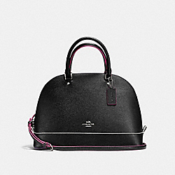 SIERRA SATCHEL IN CROSSGRAIN LEATHER WITH MULTI EDGEPAINT - f13000 - SILVER/BLACK MULTI