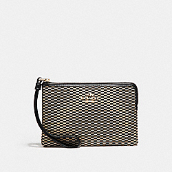 CORNER ZIP WRISTLET IN LEGACY JACQUARD - LIGHT GOLD/MILK - COACH F13311