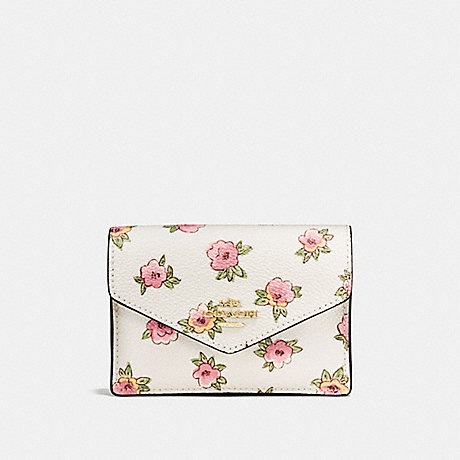 COACH ENVELOPE CARD CASE WITH FLOWER PATCH PRINT - LIGHT GOLD/FLOWER PATCH - f13321