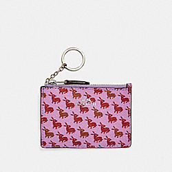 MINI SKINNY ID CASE IN BUNNY PRINT COATED CANVAS - f13520 - SILVER/LILAC MULTI