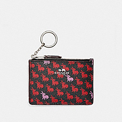 MINI SKINNY ID CASE IN BUNNY PRINT COATED CANVAS - f13520 - SILVER/BLACK MULTI