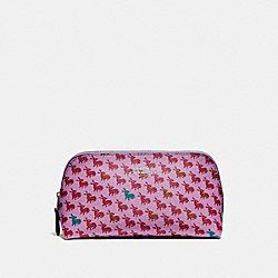 COSMETIC CASE 17 IN BUNNY PRINT COATED CANVAS - f13528 - SILVER/LILAC MULTI