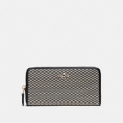 COACH ACCORDION ZIP WALLET IN LEGACY JACQUARD - LIGHT GOLD/MILK - F13677
