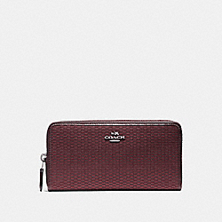 COACH ACCORDION ZIP WALLET IN LEGACY JACQUARD - BLACK ANTIQUE NICKEL/OXBLOOD 1 - F13677