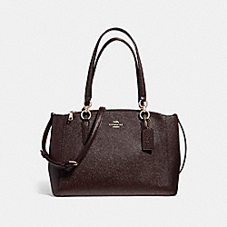 COACH SMALL CHRISTIE CARRYALL IN GLITTER CROSSGRAIN LEATHER - LIGHT GOLD/OXBLOOD 1 - F13684